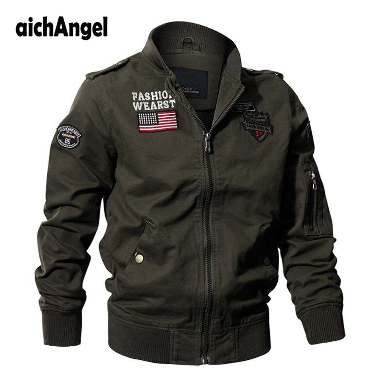 Veste tactique militaire hommes automne veste manteau US drapeau armée pilote vestes Air Force vol Cargo manteau