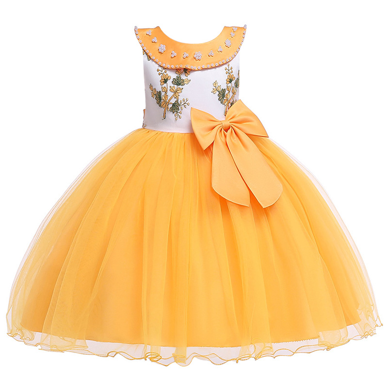 New Style Party Dresses For Girls New College Opening Elegant Flower Girls Wedding Party Romantic Ball Embroidery Dresses