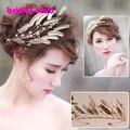 Newest Gold Leaves Baroque Wedding Hair Crown Accessories Handmade Vintage Bridal Tiara Headband Hairwear
