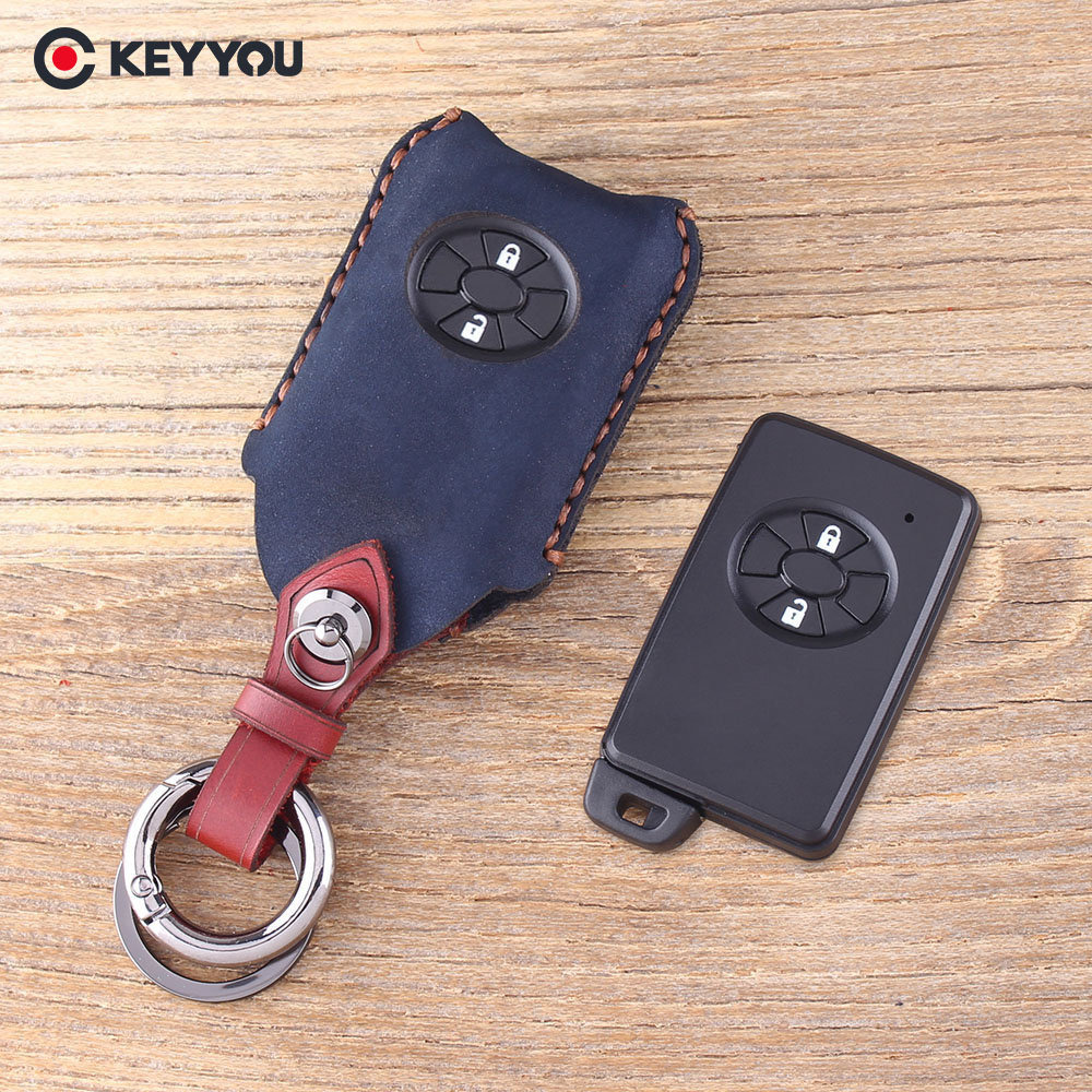 KEYYOU Leather Key Case Keychain 2 Button Smart Remote Key Shell Fob For Toyota RAV4 Vitz Ractis Car Key Cover okeytech for toyota remote key shell cover case 2 button keyless entry car key fob replacement for toyota rav4 corolla 1998 1999