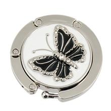 Glittery Black Butterfly Accent Round Folding Hook Handbag Table Bag holder