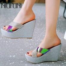 купить Wedge High Heels Women's Sandals And Slippers Summer New Cross With Thick Waterproof Platform Casual Ladies Slippers Beach Shoes по цене 1495.47 рублей