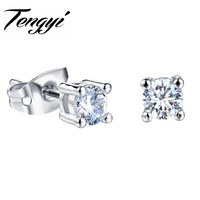Classic White Gold Color Charm CZ Stone Clear Stud Earrings Square Design Shiny Rhinestone Delicate  Earring For Women TY025