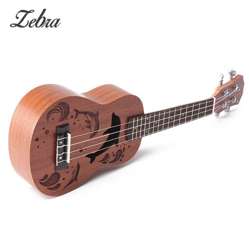 Zèbre 21 pouce 15 Frettes Soprano Ukulele Uke 4 Nylon Cordes Sapele Rosewood Guitare Dauphin Motif Universel Instrument Acoustique