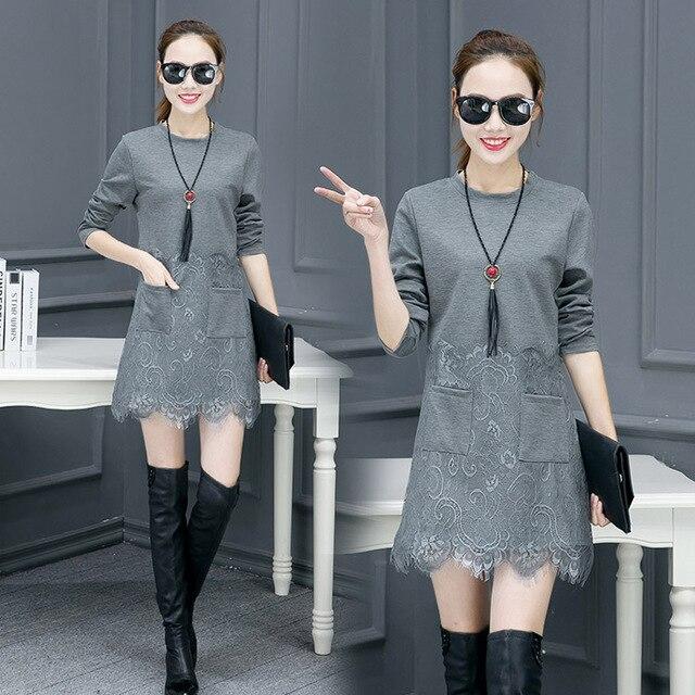 09e8cfeb82e 5xl plus big size women clothing 2017 spring summer style autumn korean  lace stitch pink gray cute sweet dress female Y0462