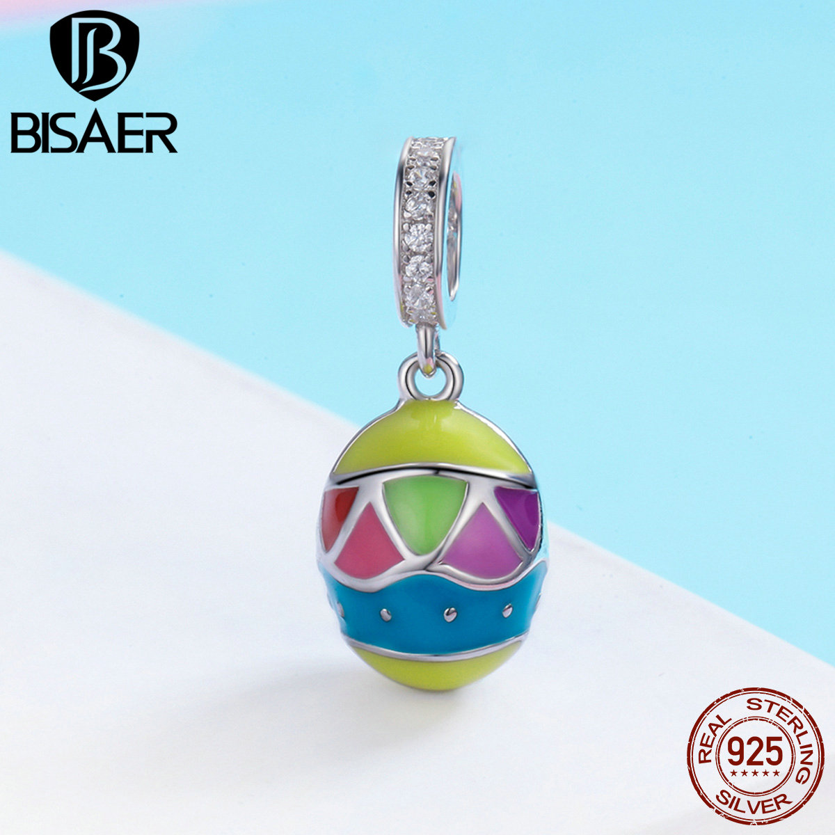 Genuine 100% 925 Sterling Silver Easter Sunday Colorful Easter Egg Beads Fit Charms Silver 925 Original Bracelet & Bangle