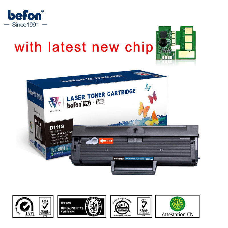 befon Black Refilled D111S Cartridge Compatible for <font><b>Samsung</b></font> MLT-D111S ML111 111 111S Toner Cartridge <font><b>M2020</b></font> 2022W 2070W Printer image