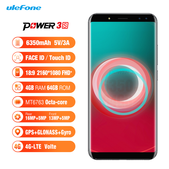 Original Ulefone Power 3S 4G Mobile Phone Android 7.1 4GB+64GB Octa Core Smartphone 4 Camera 6350mAh 6.0 inch Cell Phone Phablet