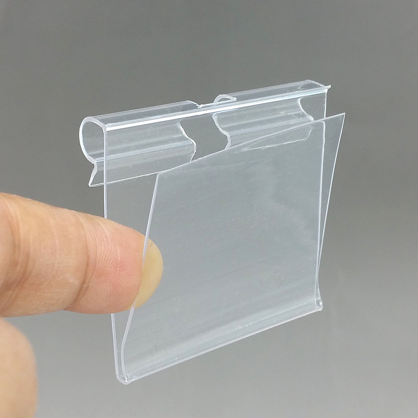 5x4.5cm Clear PVC Plastic Price Tag Sign Label Display Holder Thickening For Supermarket Or Store Shelf Hook Rack 100pcs/lot-in Clips from Office & School Supplies