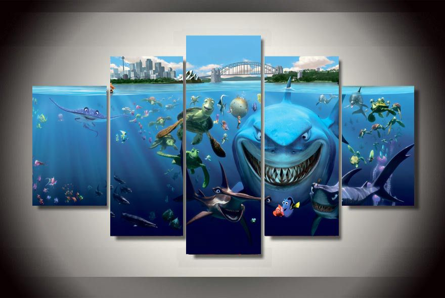 Finding Nemo Room Decor.Us 19 9 Framed Printed Multfilm Finding Nemo Group Painting Children S Room Decor Print Poster Picture Canvas Free Shipping Jjk1356 In Painting