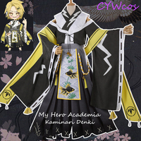 Anime My Hero Academia Kaminari Denki Cosplay Costume Flowers Festival Kimono Male Japanese Style Uniforms Halloween Costumes