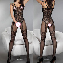 Women Tights Sexy Lingerie Hot Erotic Fishnet Pantyhose Hollow Out Women Sexy Body Stockings Plus Size Transparent Lace QQ084(China)