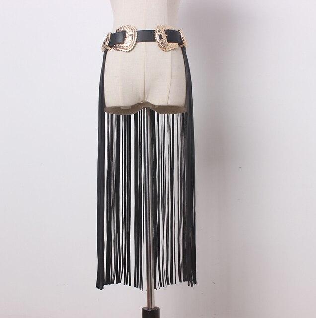 [TWOTWINSTYLE] Длинные Кисточки ИСКУССТВЕННАЯ Кожа Двойные Пряжки Дизайнерские Ремни Женщины Новая Мода