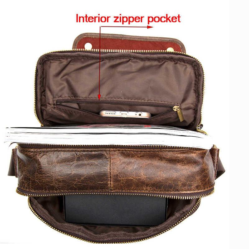 285debd99f ... WardWolf Men s Messenger Bag Shoulder Bag Genuine Leather Strap Small Casual  Flap Male Man Men s Crossbody