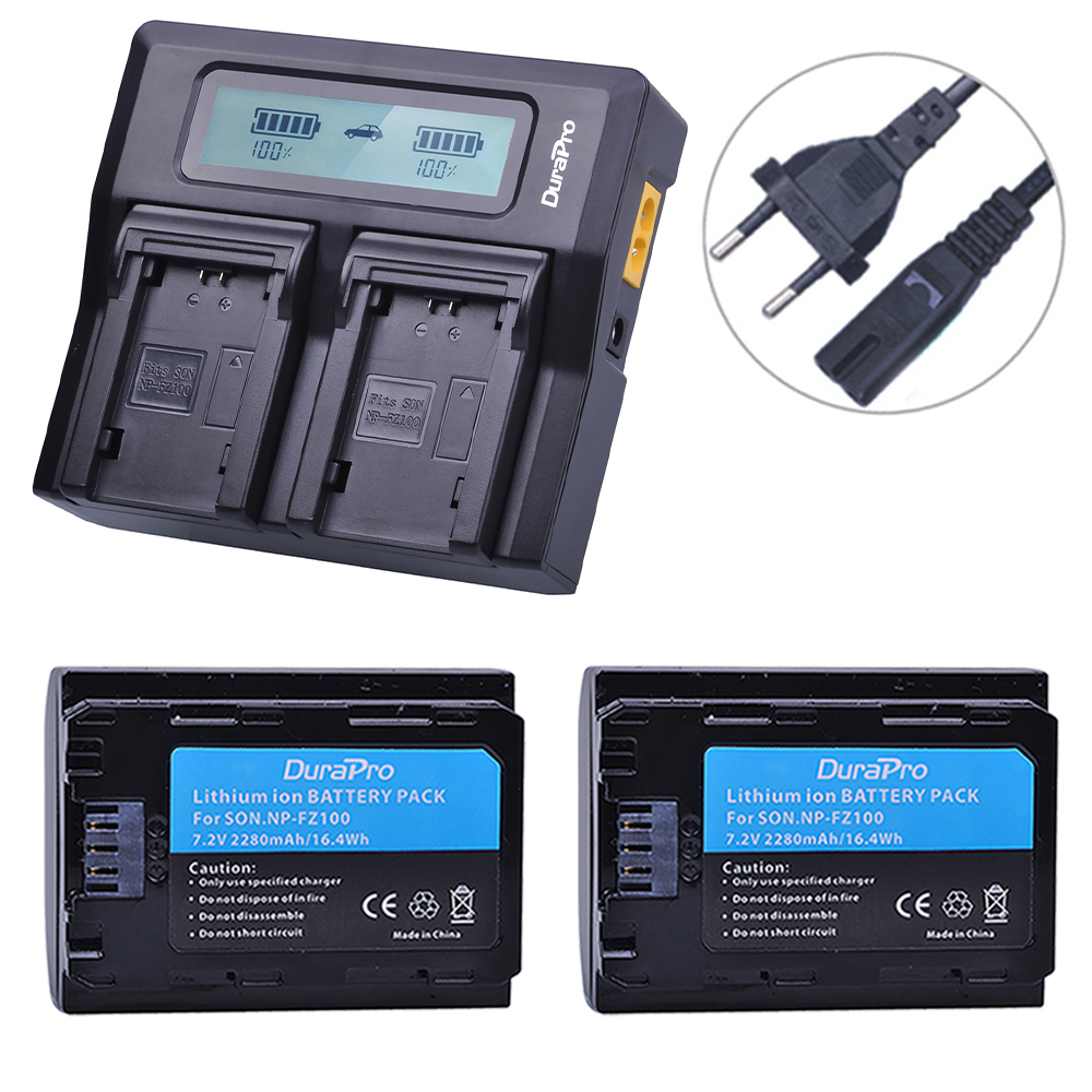 2Pcs NP-FZ100 NP FZ100 NPFZ100 Battery + AC Rapid LCD Dual Charger for Sony Alpha 9 A9 9R A9R 9S A9S A7RIII A7R3 7RM3 A7m3 etc solar 10a 10amp battery charge controller tracer1215bn 12v 24v auto work mppt epever usb sensor mt50 remote meter epsolar