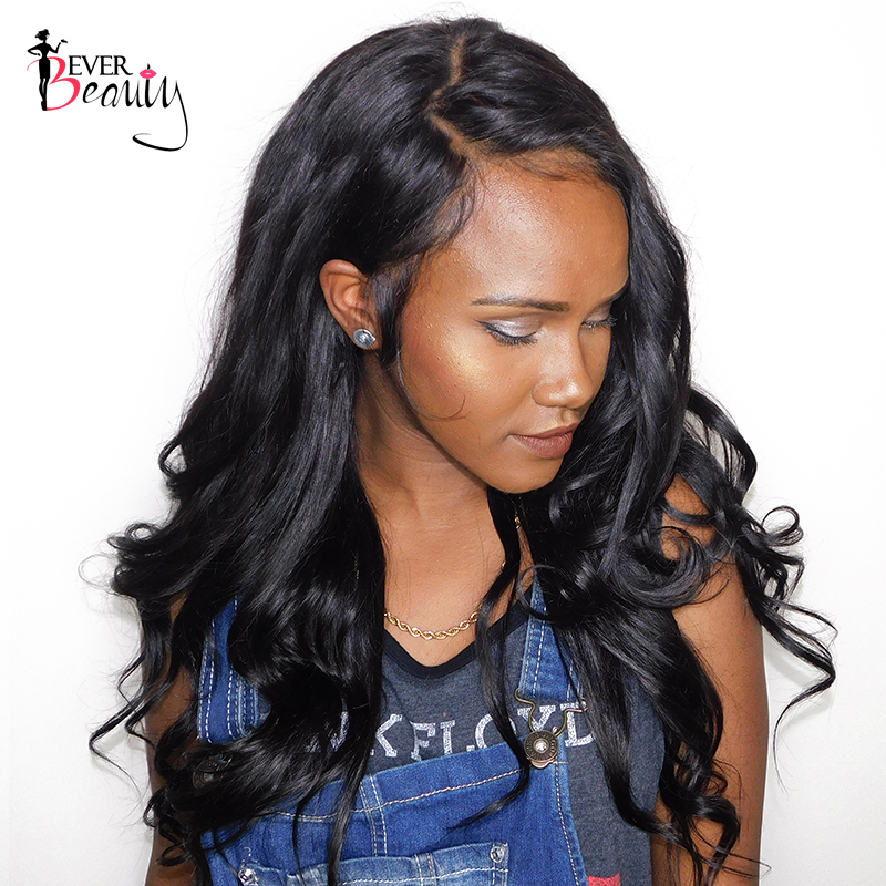 Ever Beauty 180% Density 360 Lace Front Wig Pre Plucked Body Wave Brazilian Human Remy Hair Natural Black Color 12-24inch