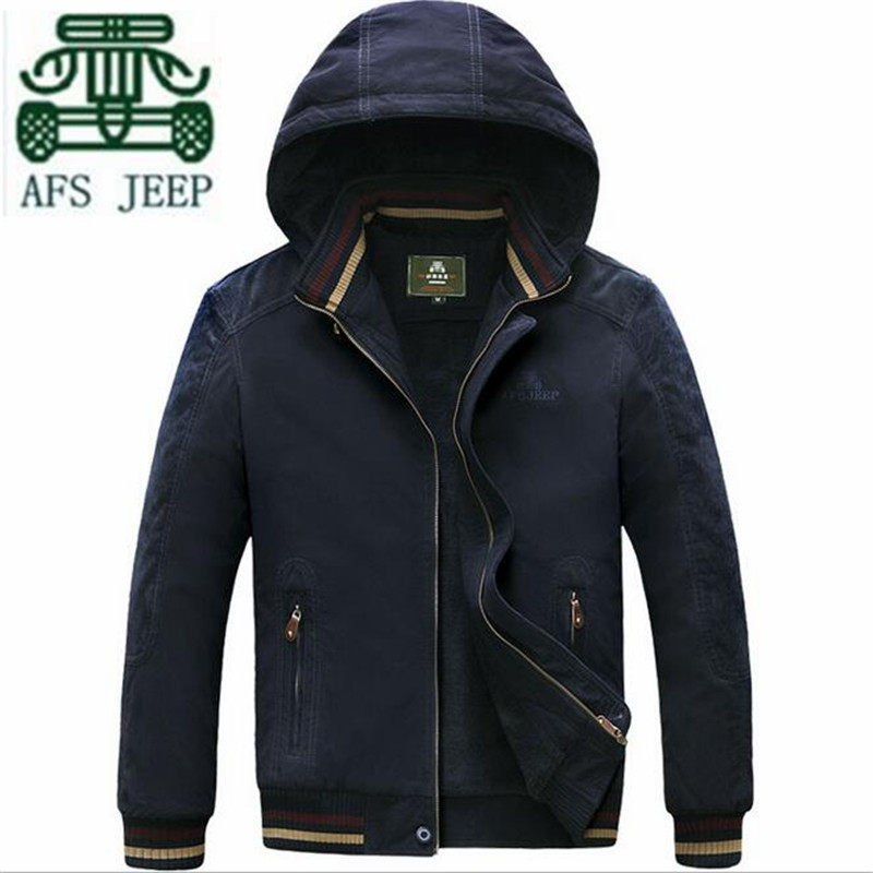 ФОТО AFS JEEP 6XL/7XL/5XLDetachable Hooded Thickness Cotton 100% Cotton.Solid Man's Loose Winter Outwear,Blue/Khaki Cashmere Inner
