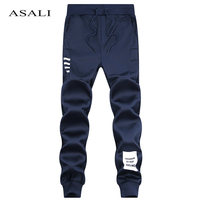 ASALI Brand Men Joggers 2017 Spring Summer Linen Cotton Trousers Cool Long Pants Men Solid Elastic