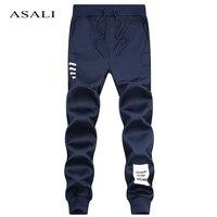 ASALI Brand Men Joggers 2017 Spring Summer Linen Cotton Trousers Cool Long Pants Men Solid Elastic