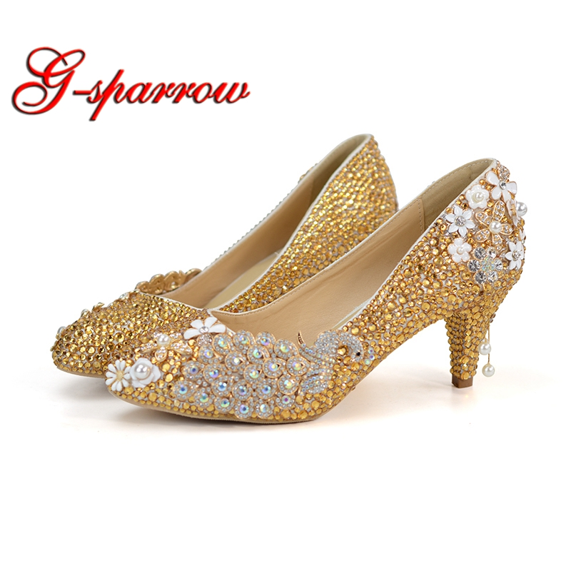 Gold Rhinestone Pumps Wedding Party Shoes Middle Heel Pointed Toe Graduation Prom Dancing Shoes Crystal Mother of Bride Shoes ab crystal heels luxury diamond platform bridal pumps wedding shoes lady sparkling prom party shoes mother of bride shoes