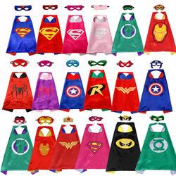 Super hero накидка 1 накидка + 1 маска супергероя Косплэй костюм для детей Хэллоуин вечерние костюмы для детей Супермен Человек-паук плащ