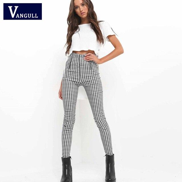 c90ea24e US $10.99 49% OFF Vangull Gray White Plaid Pants Sweatpants 2018 New Women  Side Stripe Trousers Casual Cotton Comfortable Elastic Pants Joggers-in ...