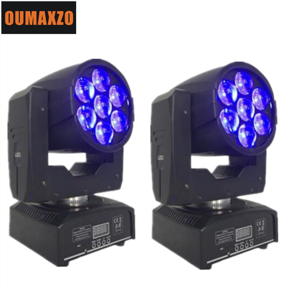 7*12W RGBW 4IN1 Zoom Led Moving Head Light Wash+Beam 2in1 Effect DMX 16CH LED Display 3 Pin XLR DMX512 Advanced version 7pcs 15w