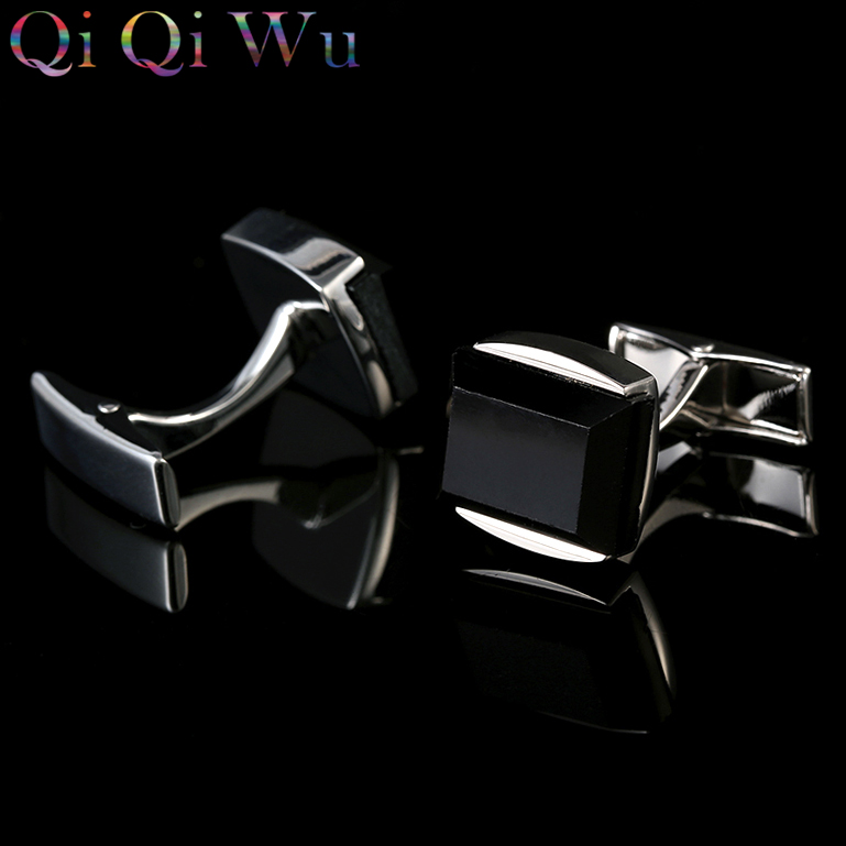 New Black Cufflinks Silver Cuff links Designer Mens French Shirt Gemelos Cuffs Boutons Wedding Gifts for Men Guests in Tie Clips Cufflinks from Jewelry Accessories