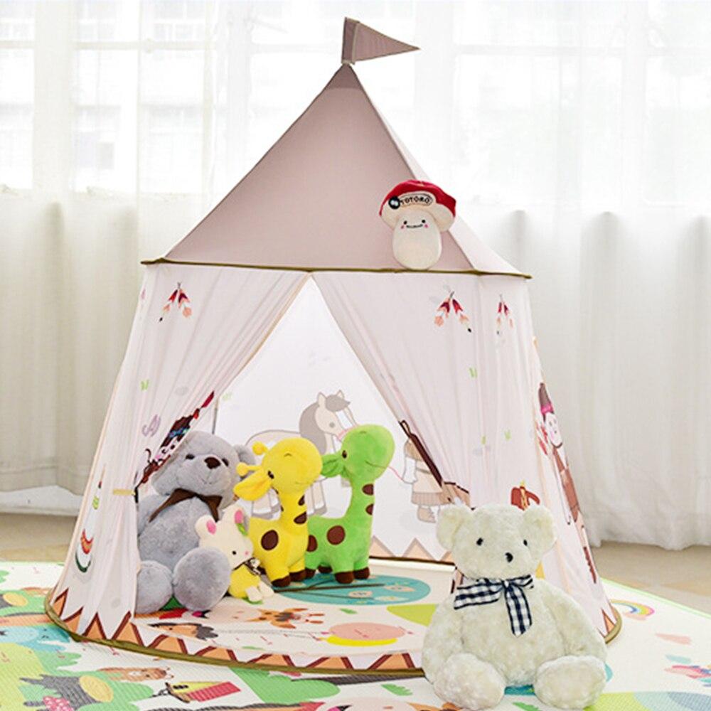 Tente pliable pour enfants pour enfants bébé jouer maison Wigwam princesse château tipi enfants présents accrocher drapeau tente jouet de chambre d'enfants