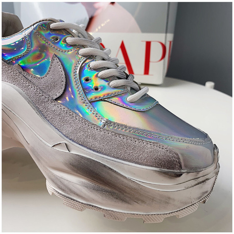 2019 Spring Autumn Shoes Women Platform Shoes Lady Lace Up Casual Pumps Creepers Harajuku Punk Sneakers Girl Female Silver Shoes (1)
