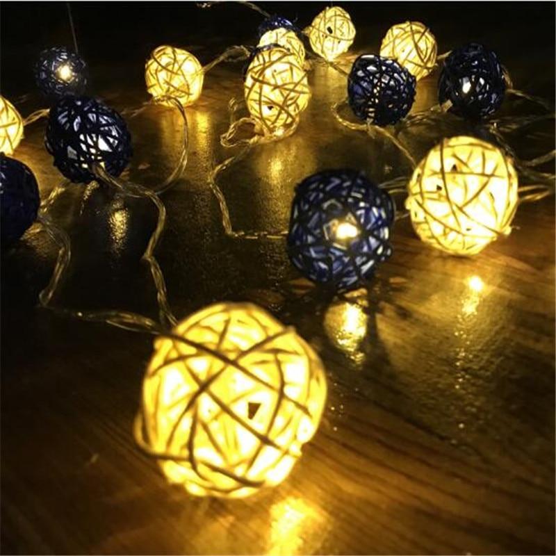 LED Battery String Lights 1.5M 10 LEDs White Dark Blue Handmade Rattan Balls String Lights Fairy Party Wedding Patio Xmas Decor