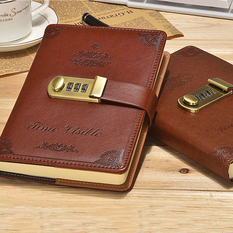 Retro Password Book Lock Diary Thickened  Creative Account Book Student Notepad Stationery Notebook