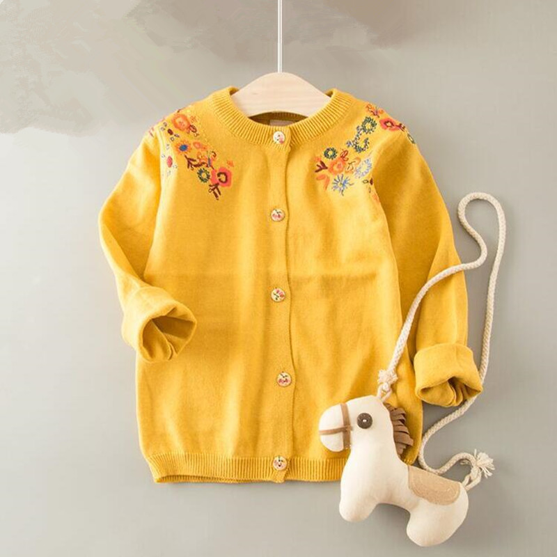 Autumn Toddler Girl Sweater Kids Sweater For Grils Cardigan Girl Embroidery Flower Long Sleeveg Girl Winter Clothes