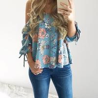 Women Floral Spaghetti Strap Cold Shoulder Blouse V Neck 2017 Tops Loose Fashion Casual Shirt Summer