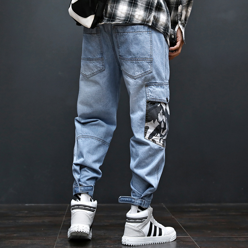 New Men's Loose Hip-Hop Workwear Men   Jeans   Hip Hop Skull Embroidery Straight Baggy Casual Skateboard Pants