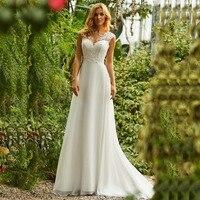 Wedding Dress Boho O Neck Appliques Lace Top A Line Vintage Princess Wedding Gown Chiffon Skirt Beach Bride Dress 2019 Hot
