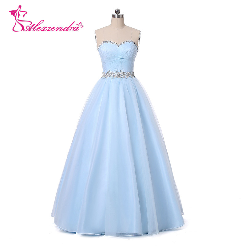 Alexzendra Tulle Long Bridesmaid Dress for Wedding Light Blue Beaded Party Gown