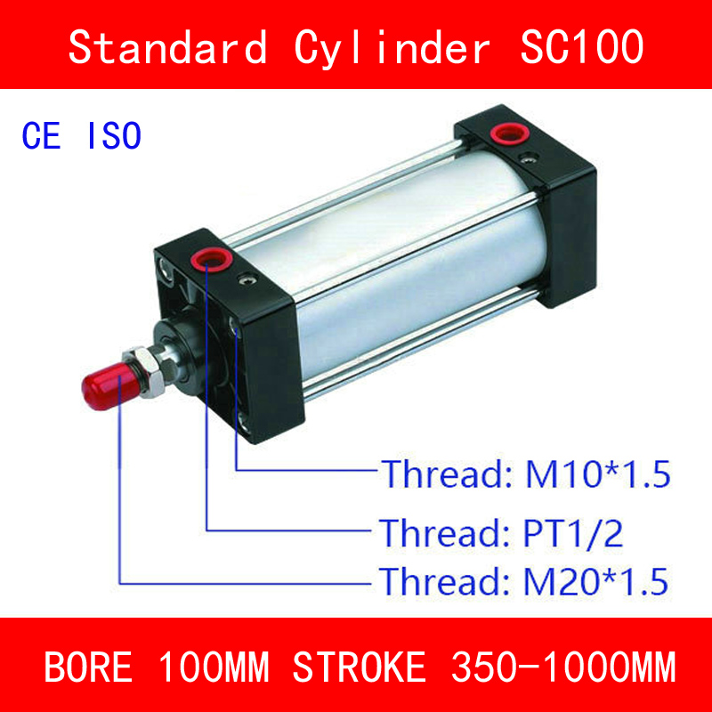 CE ISO SC100 Air Cylinders Valve Magnet Bore 100mm Strock 350mm to 1000mm Stroke Single Rod Double Acting Pneumatic Cylinder iso 100 в перми