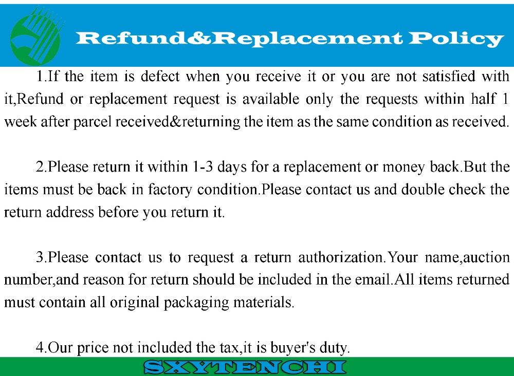 Refund or Replacement Policy