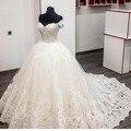 Real Photo vestido de Baile vestidos de Casamento Vestidos Swetheart Cap Luva Frisada Do Laço Do Marfim Do Vestido de Casamento Long Train robe de mariage
