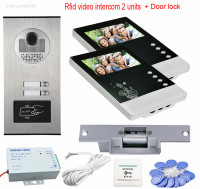 Videophone 2 Monitors 4 3 Intercom Door Rfid Camera CCD 700TVL Home Intercom Entry System For