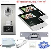 Videophone 2 Monitors 4 3 Intercom Door Rfid Camera CCD 700TVL Home Intercom Entry System For