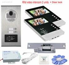 Big sale Videophone 2 Monitors 4.3″ Intercom Door Rfid Camera CCD 700TVL Home Intercom Entry System For 2 Apartment+ Electric Strike Lock