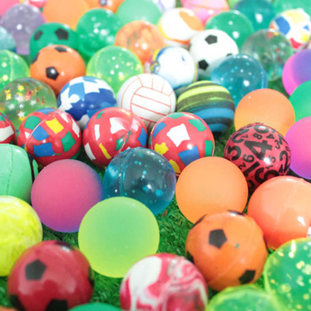 100 Assorted Colorful Small Bouncy Balls Elastic Rubber Ball Pinata Fillers Toys for Kids Games DIY Crafting 1.3 inch Diameter