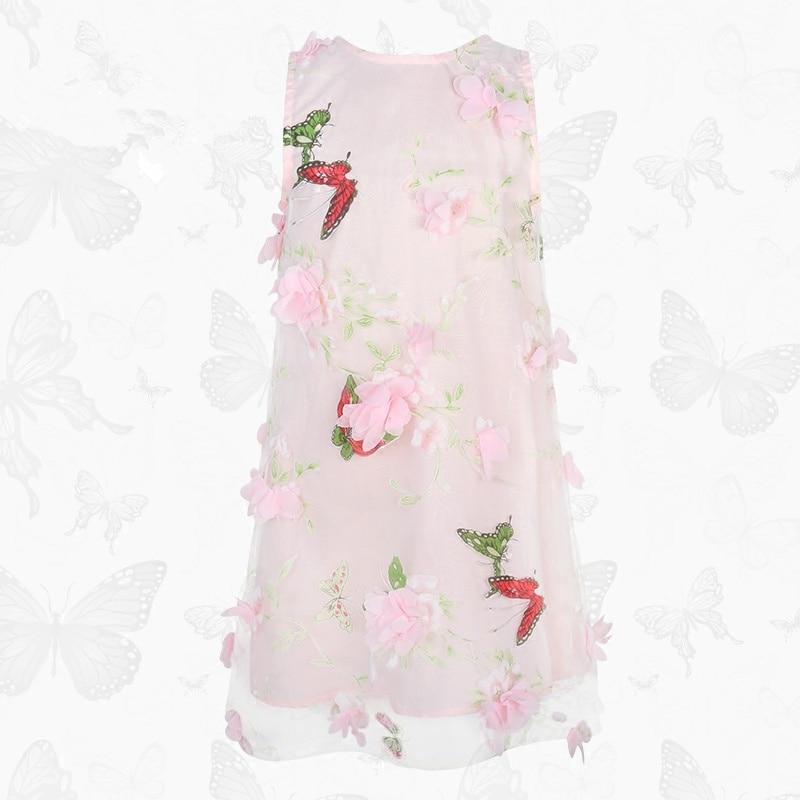 WL.MONSOON child 2017 summer Dresses for girls dress Girl's vest dress Pink flowers Butterfly dress girls peach print vest dress