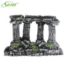 Saim Greek Temple Stone With 4 Pillars Aquarium Fish Tank Decoration Artificial Rock Ornament for Cave