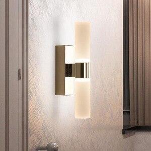 Image 2 - AC85 265V 6 ワットダブルヘッドアクリル led ウォールライトホテル/寝室の壁ランプ浴室のためのステンレス鋼 led ミラーライト