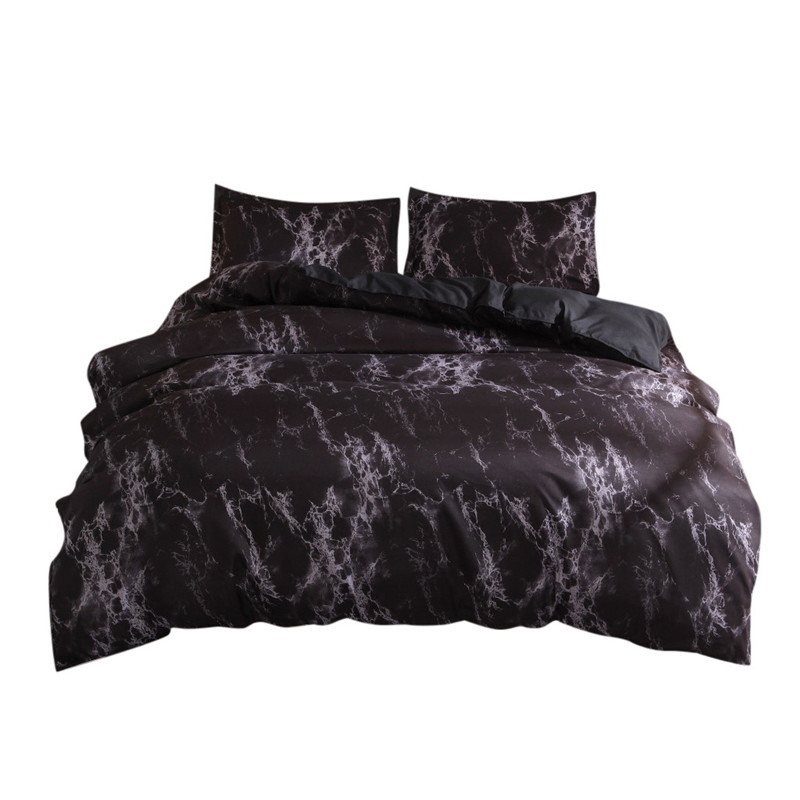 Image 2 - Simple Marble Bedding Duvet Cover Set Quilt Cover Twin King Size With Pillow Case Luxury Soft Duvets Sleep mask double bedspread-in Bedding Sets from Home & Garden