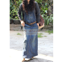 Denim Dress Casual New Spring Autumn Sexy Denim Loose Strap Casual Long Denim Dress Blue Overalls Jeans Dress WICCON
