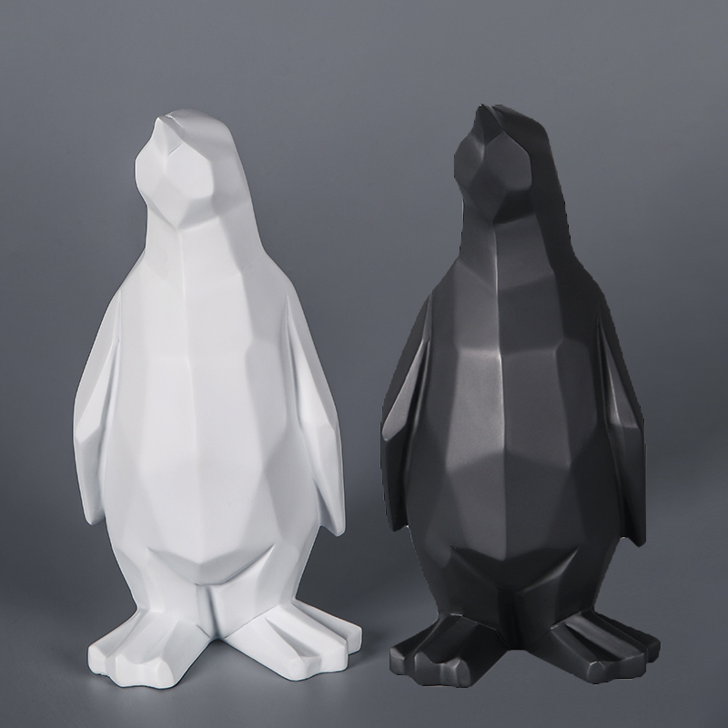 Abstract Penguin Statue Sculpture Geometric Resin Penguin Model Furnishing Home Animal Decoration Modern Ornament Gifts Crafts
